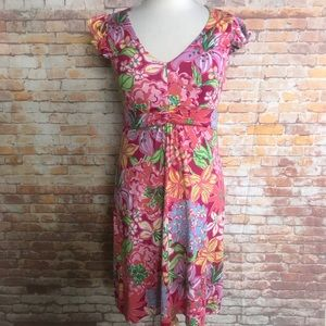 Lily Pulitzer small dress floral pink v neck